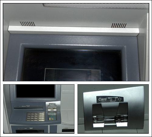 Skimming typically involves the use of hidden cameras (top) to record customers' PINs and phony keypads (right) placed over real keypads to record keystrokes.