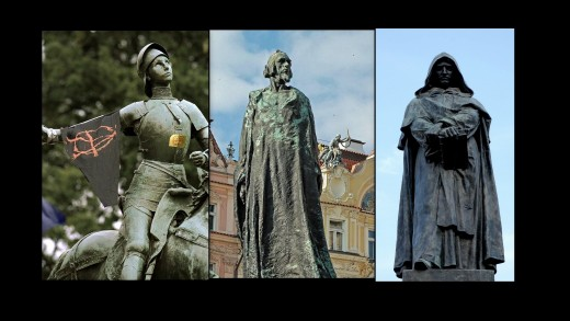 Statues of Joan or Arc in Washington, Jan Hus in Prague and Giordano Bruno in Rome