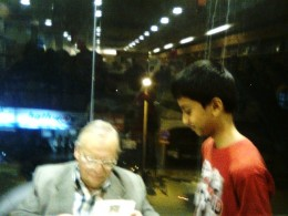 My son Mark with Author Ruskin Bond - sofpics