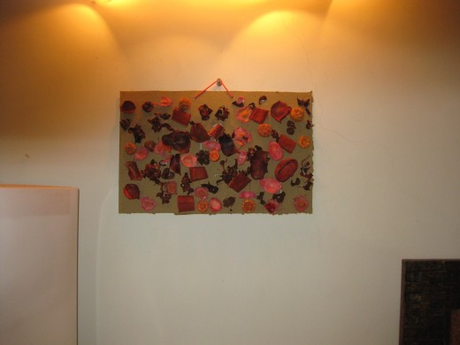 My third artwork wall hanging with potpourri materials on it.