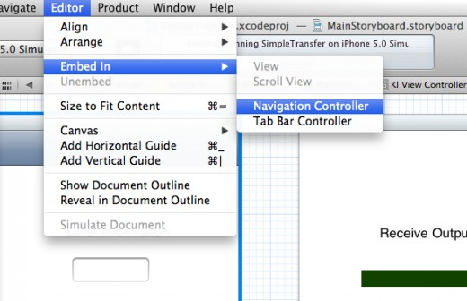 Figure 11 - Add a Navigation View Controller to the First View Controller
