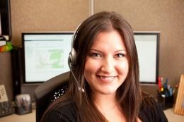 A happy call center employee.