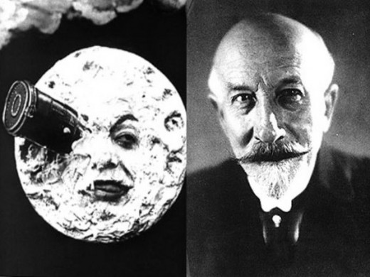 "ON THE LEFT: A SCENE FROM GEORGES MELIES' 1902 MOVIE ""A TRIP TO THE MOON""; ON THE RIGHT IS GEORGES MELIES HIMSELF"