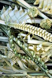 Creative, hand braided palm branches with unusual designs and variations are sold in the marketplace a few days before Palm Sunday, called Cvjetnica (or flower day) in Croatian.