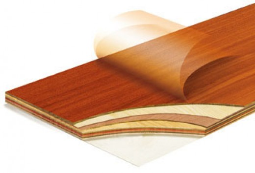 Illustration of multi-ply engineered wood with a thin veneer finish.