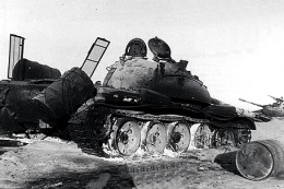 Two burnt tanks at Longewala