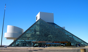 Can you spot the modern triangular body and stunted neck of the 'guitar' created by I.M. Pei for the Rock and Roll Hall of Fame and Museum?