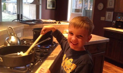 My 9 year old son loves to help cook with adult supervision
