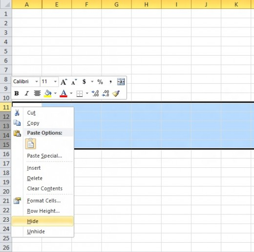 VBA: Code To Hide And Unhide Rows And Columns In Excel