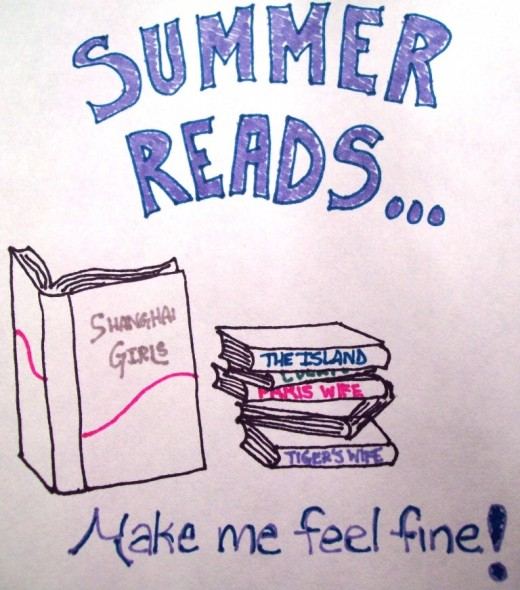 "My sketch of my favorite summer reads.  It reminds me of that song, ""Summer Breeze."""