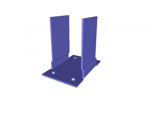 Mild steel bracket 3D model of a component used to support drainage pipes on conservatory systems.