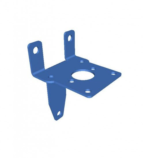 Mild steel bracket 3D model, the component is used to support a pump.  You can see the finished bracket 3 images below once they had been punched out of mild steel sheet, edge deburred and bent up.