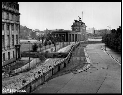 Berlin Wall separating East and West Germany