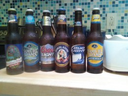 My beer options for the beer-flavored ice cream. I went with the Sam Adams Boston Lager.