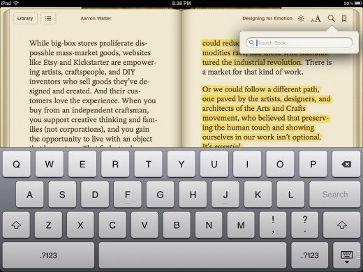 Reading a book on the iPad, screenshot demonstrates highlighting and search function capabilities
