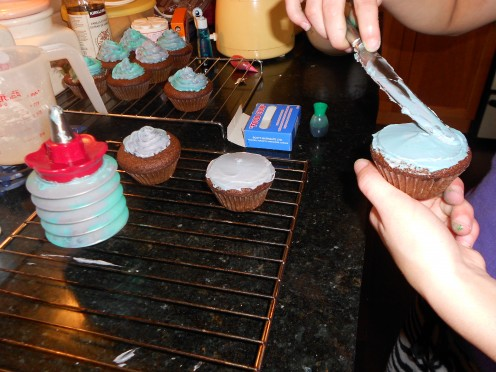 use a cup cake icing squeeze pump or spread the icing flat and cover with sprinkles to finish off the cakes.