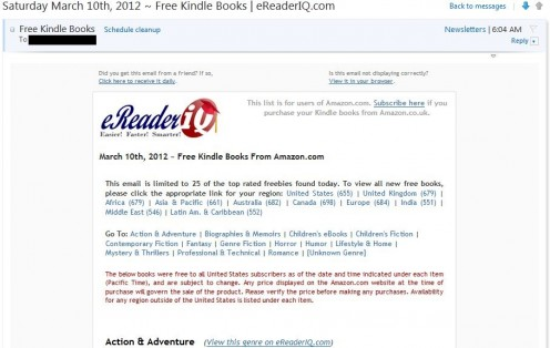 Just the header of one of the daily emails from EreaderIQ.  Note how many free books it has listed for each area.  These are only the ones newly free since the previous day.