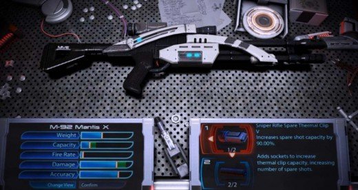 Mass Effect 3 Upgrading the Mantis M-92 at the Weapon Bench