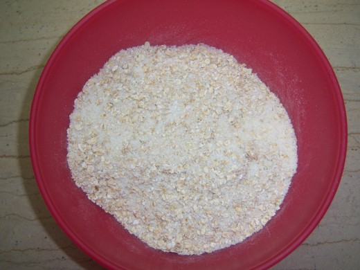 4.  Weigh the oats and coconut in a bowl....
