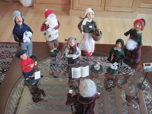 The beginning of our collection of Byer's Choice Christmas Carolers