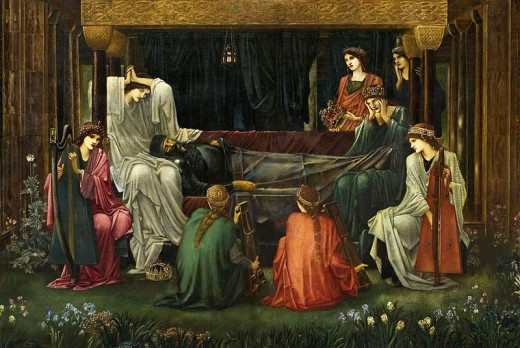 King Arthur lay dying at Avalon.  (Painting by Edward Burne Jones)