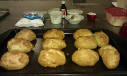 Puffs are ready to be cut and filled.