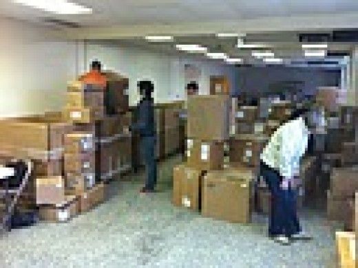 Medical supplies packed for shipment