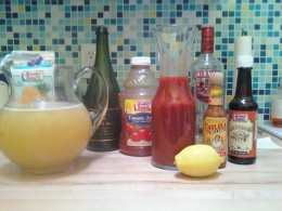 Bellinis and Bloody Marys and their ingredients.