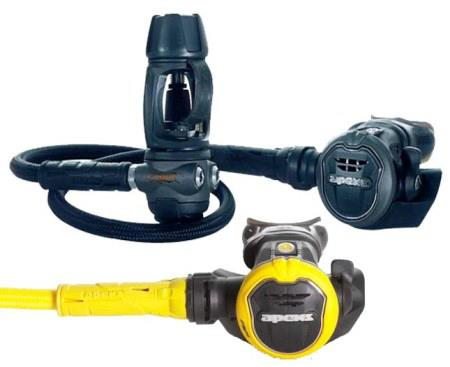 Regulator - carries the air from your cylinder, should be equipped with a gauge and second mouthpiece.