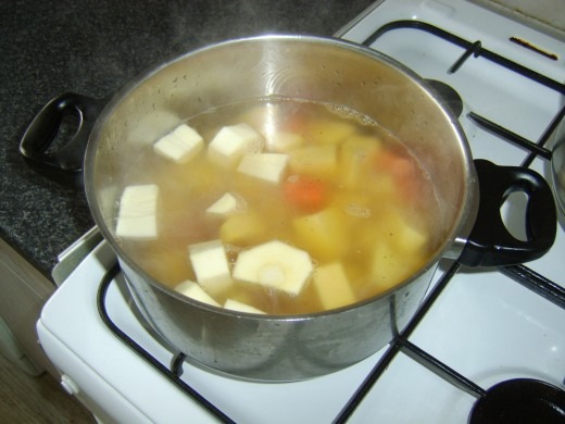 Stock should comfortably cover the vegetables
