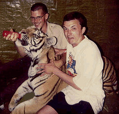 PETTING A VICIOUS BENGAL TIGER UPON SOMEONE ELSE'S DARE, WAS RIGHT UP HARVEY'S ALLEY.