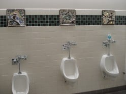 Each urinal has something to look at while one stands there.