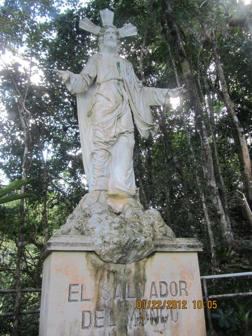 A statue of Jesus with the name of the Park awaits a quarter hike away