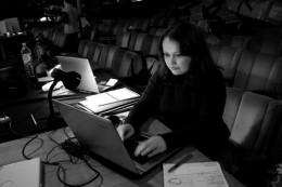 Stuck for a photo of me at a computer, so thought I'd go for this image, seeing as though I am both writing and in a theatre (which is where I currently do most of my writing). This is during the Tech period for The Lord of the Rings