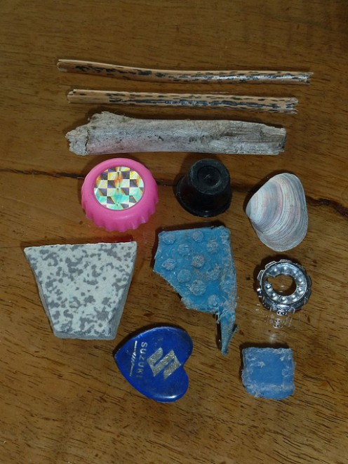 Small found objects waiting to generate short story ideas through drawing.