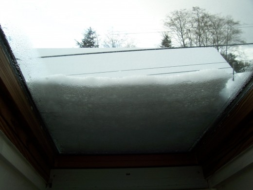 Skylight covered in snow