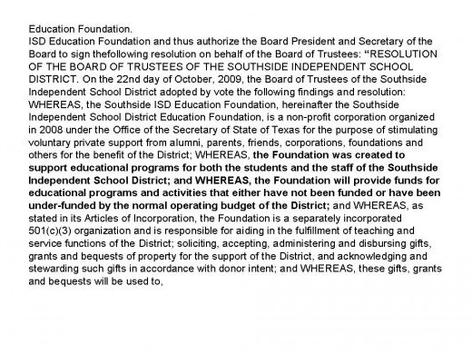Oct. 22, 2009 Board Minutes on the Establishment of the Education Foundation. www.southsideisd.org