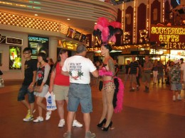 """Showgirls"" in costume on Fremont Street."