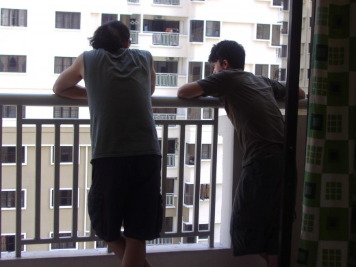 Ben and Danny, on balcony of apartment.  My sister's house was about half a mile away.