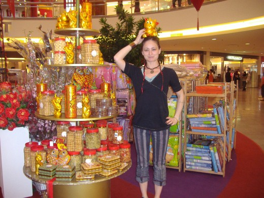 Tara in the mall, decorated for Chinese New Year