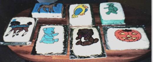 From top left to right; Pony (baby horse), Bird, Turtle From bottom left to right; Horse, Blue Bear, Teddy Bear, Pumpkin