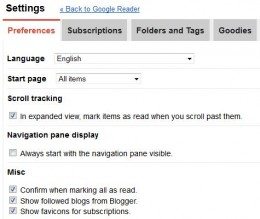 Settings you will need in the Preferences section under settings in Google Reader.