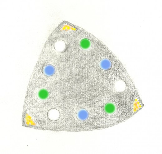 Drawing of the underside of a UFO seen by a 56 year old female witness in Independence, MO at 7:30pm on 10/4/2011.