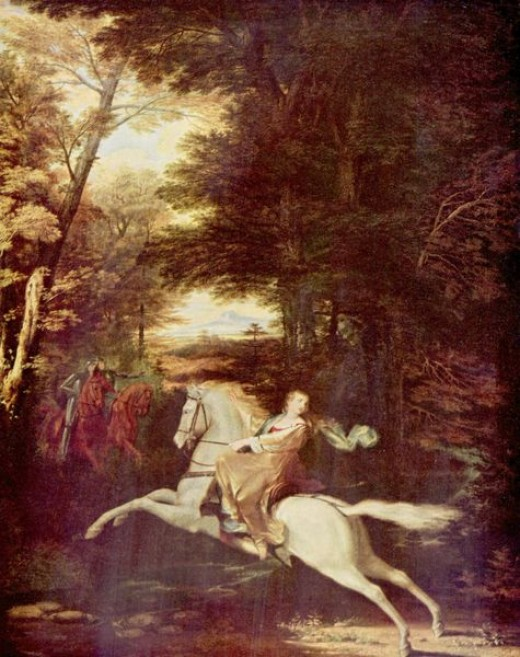 """Florimell's flight. (Book III)  from  """"The Faerie Queene"""" illustrations."""