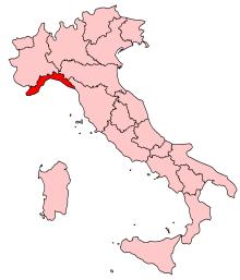 Map location of Liguria, Italy