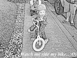 Look I can ride ride my bike....