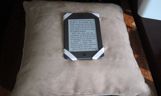 My Easy to Make Kindle Pillow Holder in action
