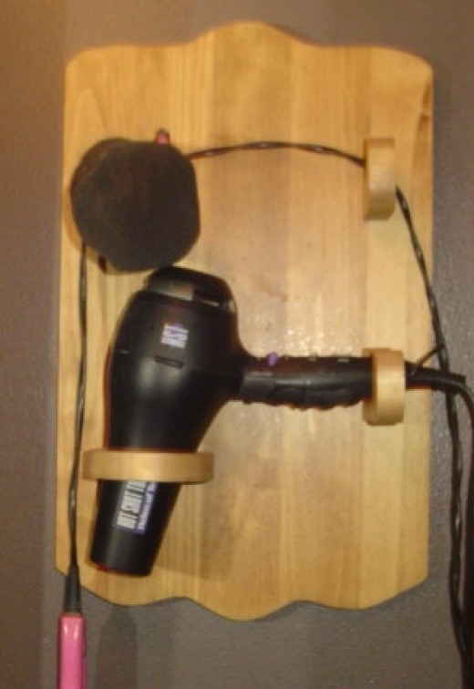 Hair dryer and curler holder