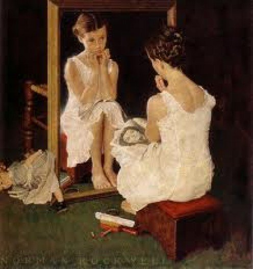"""Girl At Mirror"" by Norman Rockwell"