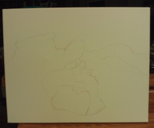 Outline sketch of the view from the Rim of the World Highway.
